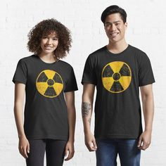 Radioactive symbol, danger radiation distressed and cool design, t-shirt.
