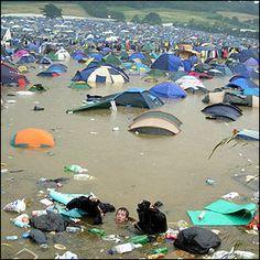 Glastonbury Festival Accommodation under water