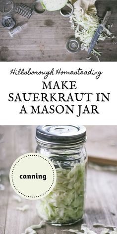 This easy recipe makes one mason jar of sauerkraut at a time! Home fermentation has never been easier. Even better - I've included canning instructions. Click the pin to learn more! Low Carb Appetizers, Low Carb Desserts, Appetizer Recipes, Appetizer Ideas, Canning Tips, Canning Recipes, Yummy Drinks, Yummy Food, Delicious Recipes