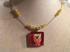 Yellow Necklace  Owl Pendant Jewelry  Jade Gemstone by cdjali