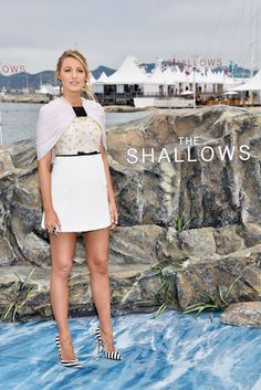 MAY 2016: Blake Lively attends The Shallows photocall in Cannes wearing a Giambattista Valli dress