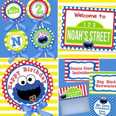 "Printable Cookie Monster party  --And it says ""Noah's Street"" :)"