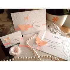 Apricot  Butterfly Wedding Invitation