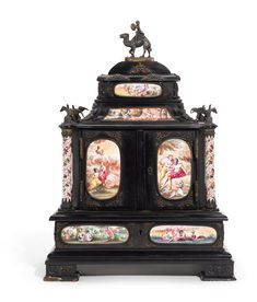 An Austrian enamel-mounted small cabinet, probably Vienna, circa with enamel plaques of mythological scenes in gilt-metal mounts, the corners with spiral-painted enamel columns with bird tops, finial of a faun riding a camel height 14 in. Restore Paint, Small Cabinet, Casket, Asian Art, Vienna, Art Decor, Modern Art, Objects, Auction