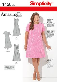"""misses' and plus size amazing fit a-line dress with princess seams has   individual pattern pieces for slim, average and curvy fit and b, c, d, dd cup sizes. dress also has invisible back   zipper.<p></p><img src=""""skins/skin_1/images/icon-printer.gif"""" alt=""""printable pattern"""" /> <a   href=""""#"""" onclick=""""toggle_visibility('foo');"""">printable pattern terms of sale</a> <div id=""""foo"""" style=""""display:none;   margin-top: 10px;"""">digital patterns are tiled and labeled so you can print and assemble ..."""