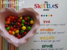 a fun skittles get-to-know-you game with downloadable pdf. so much fun for kids' parties or even for getting to know your own kids a little better. | www.livecrafteat.com