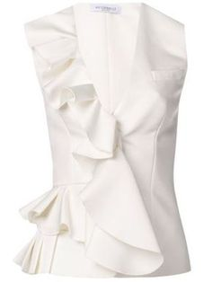 Viktor & Rolf ruffle front vest tank and other apparel, accessories and trends. Browse and shop 8 related looks. Bow Shirts, White Shirts, Moda Chic, Mode Style, Blouse Styles, White Fashion, Fashion Outfits, Womens Fashion, Corsage