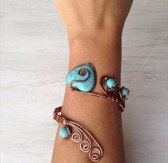 Heart turquoise bracelet wire wrapped by santorinijewellery