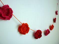 Pink, orange & red flower garland - Folksy