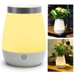 Allytech Dimmable USB Rechargeable LED Vase Lamp Table Touch Control 3 Levels Brightness Night