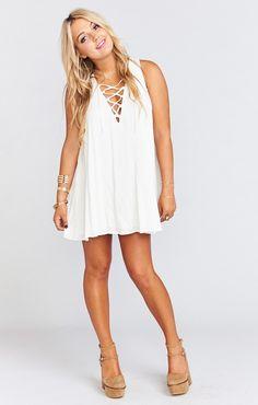 Rancho Mirage Lace Up Tunic Dress ~ White Cloud | Show Me Your Mumu