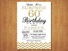 Surprise 60th Birthday Invitation. Glitter by happyappleprinting