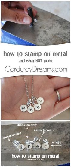 How to Stamp on Metal (and what not to do) : - DIY Jewelry Vintage Ideen Diy Jewelry Tutorials, Jewelry Tools, Wire Jewelry, Jewelry Crafts, Handmade Jewelry, Jewelry Making, Silver Jewelry, Diy Jewelry For Mom, Jewelry Ideas