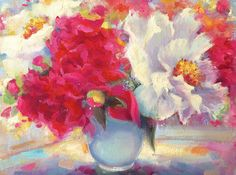 """Original Oil Painting by Tina Wassel Keck, 11""""H x 14""""W, My Sister's Garden"""