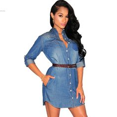Find More Dresses Information about Hot Sale ! 2016 Spring Dress Women Mini Denim Jeans Dress Vestidos Lady Sexy Casual Medium Sleeve Turn down Neck Summer dress,High Quality dress suits,China jeans dress women Suppliers, Cheap dress up clothes men from Hot Fashion Zone on Aliexpress.com