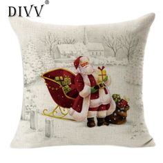 DIVV Top Grand New Vintage Christmas Santa Claus Sofa Bed Home Decor Pillow Case Cushion Cover #527 #Affiliate