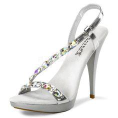 """4 3/4"""" Heel Slingback Sandal Featuring Rhinestones Embellished Strap - each pair"""