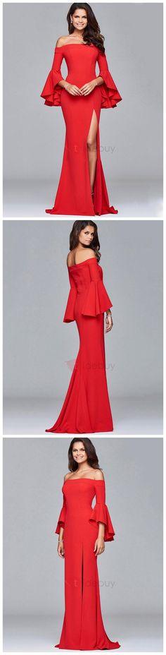Red Flare Sleeve Boat Neck Women's Dress