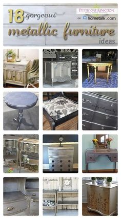 25 metallic furniture paint projects by Petticoat Junktion.