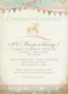 "Photo 9 of 21: Carousel- Pink, Gold and Mint Green / Birthday ""Cupcakes and Carousels"" 