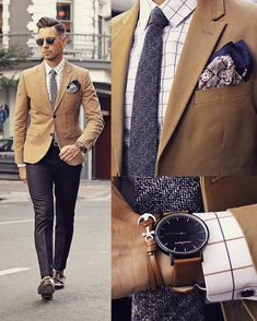 How To Match Suit, Accessories & Footwear The Right Way Suit , Pokect Square And Watch Combinations For Men Mens Fashion Suits, Mens Suits, Blazer Outfits Men, Traje Casual, Tan Blazer, Brown Blazer, Brown Jacket, Style Masculin, Fashion Network