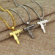 FAMAS Gun Ball Chain Necklace 2.4mm 24 inch Black or Silver Chain GUN PARTY mens