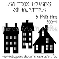 Saltbox Houses Silhouettes, Silhouettes, Silhouette Clipart, PNG Files, Instant Download, Silhouette Graphics, Silhouette Clip Art, Houses,