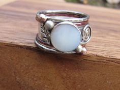 mother of pearl ring  unique engagement ring stack by RootsJewelry, $102.00