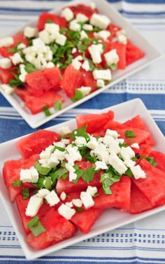 Watermelon & Feta Salad. We used to eat this a lot in Summer. A typical turkish refreshing summer snack. #turkish #turkey #food