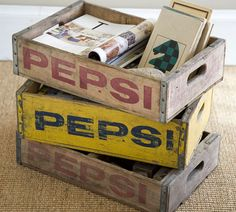 Great ideas for decorating with soda crates. (And to think D wanted to sell our Coke crates in our last yard sale! Ne-vuh!)