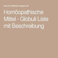 Homöopathische Mittel - Globuli Liste mit Beschreibung