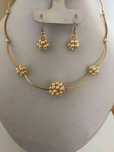 Gold Jewellery Design, Bead Jewellery, Pearl Jewelry, Bridal Jewelry, Beaded Jewelry, Wire Jewelry, Gold Jewelry, Imitation Jewelry, Homemade Jewelry