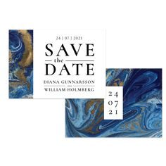 Blå marmor – Save The Date Save The Date, Paper, Products