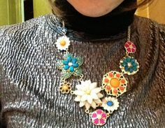 Flower Necklace  Colorful Flowers Cluster by costumejewelrystore, $15.20