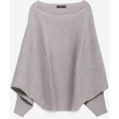 Zara Batwing Sweater ($40) ❤ liked on Polyvore featuring tops, sweaters, light grey, shell tops, batwing sweater, zara top, zara sweaters and batwing top