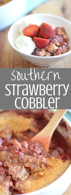 Strawberry Cobbler   This warm, sweet strawberry cobbler is a Southern classic - perfect with frozen strawberries and absolutely amazing with fresh spring strawberries. Clickthrough for the full recipe!