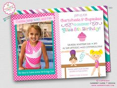 Adorable DIGITAL/PRINTABLE Cartwheels & Cupcakes Gymnastics Birthday Party Invitation by Inkberry Cards + Design. Available with or without a photo 4th Birthday Parties, 7th Birthday, Birthday Stuff, Birthday Ideas, Photo Invitations, Birthday Party Invitations, Gymnastics Birthday, Gymnastics Store, Gymnastics Cakes