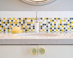 "Brio City Sunshine Blend Glass Mosaic Tile 3/4"" Multicolor Yellow Gray and White Bathroom Wall Stripe Installation"
