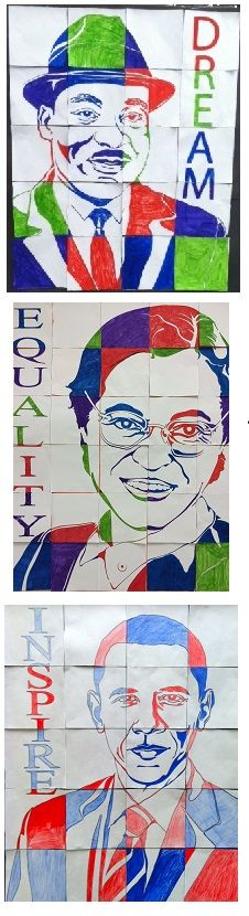 Mosaic portraits for Black History Month. Kids learn the power of cooperation through this art activity where the final product depends on each individual's contribution. Stunning results!!