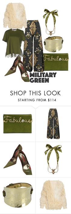 """""""Go Bohemian in military green"""" by wickedangel ❤ liked on Polyvore featuring Charlotte Olympia, Gianmarco Lorenzi, Dsquared2, ADAM, Valentino and Gogreen"""