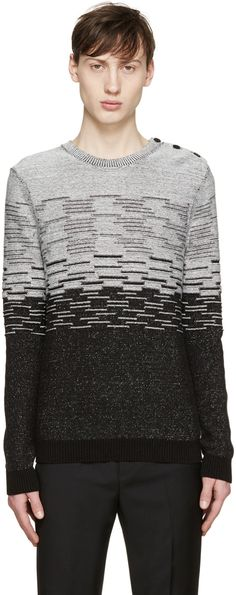 Carven Black & White Striped Sweater
