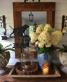 Porch vignette with hydrangea - J. E. Parrott