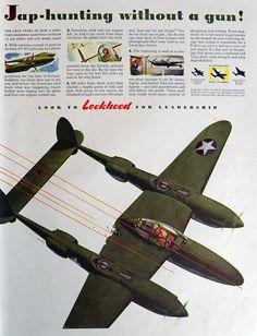 1943 Lockheed Aircraft Ad ~ Jap Hunting Without a Gun
