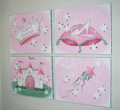 PRINCESS   CASTLE  wall art setpaintings   4pc.  by austinartworks, $99.99