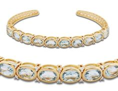 18k Gold Over Sterling Silver and Sky Blue Topaz Thin Cuff Bracelet; 7.25 inches Joolwe. $129.99