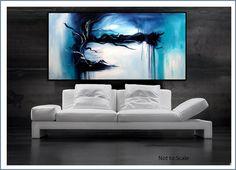 Large Blue Abstract Art Original Painting by RenaeSchoeffelArt