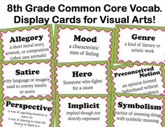 The smARTteacher Resource: Common Core Language Arts Vocab. for Visual Arts for Grade 8th Grade Writing, 8th Grade Reading, 8th Grade Ela, Teaching Literature, Teaching Reading, Teaching Resources, Teaching Ideas, Teaching Art, Learning