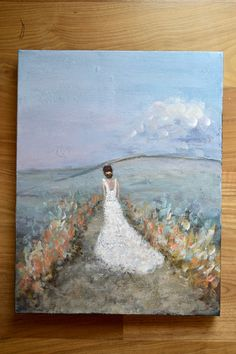 Original Figurative Painting Bride painting Bridal wedding Painting Along a Dream 18x14x1.5 Swalla Studio