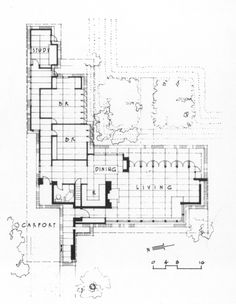 Pew house frank wright google search architecture for Usonian style house plans