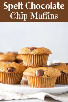 This sprouted spelt chocolate chip muffins recipe is outstanding. The muffins are delicious, lower in carbs and have a lower glycemic index than regular flour muffins. Good Food, Yummy Food, Sweet Recipes, Easy Recipes, Chocolate Chip Muffins, World Recipes, Dessert Recipes, Desserts, Muffin Recipes